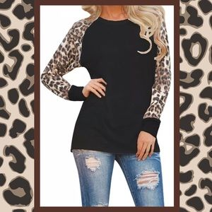 Leopard Semi Sheer Long Sleeve Round Neck Tee NWT